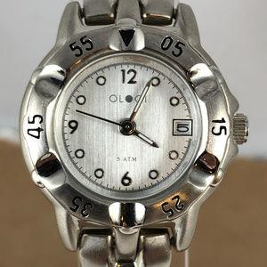 Vintage Ologi 2 Tone Silver Brushed Finish Watch